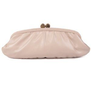 Vintage Leather Snap Clutch Pouch England Beige